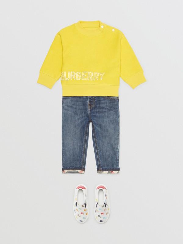 Stencil Logo Print Cotton Sweatshirt in Citron - Children | Burberry Canada - cell image 2