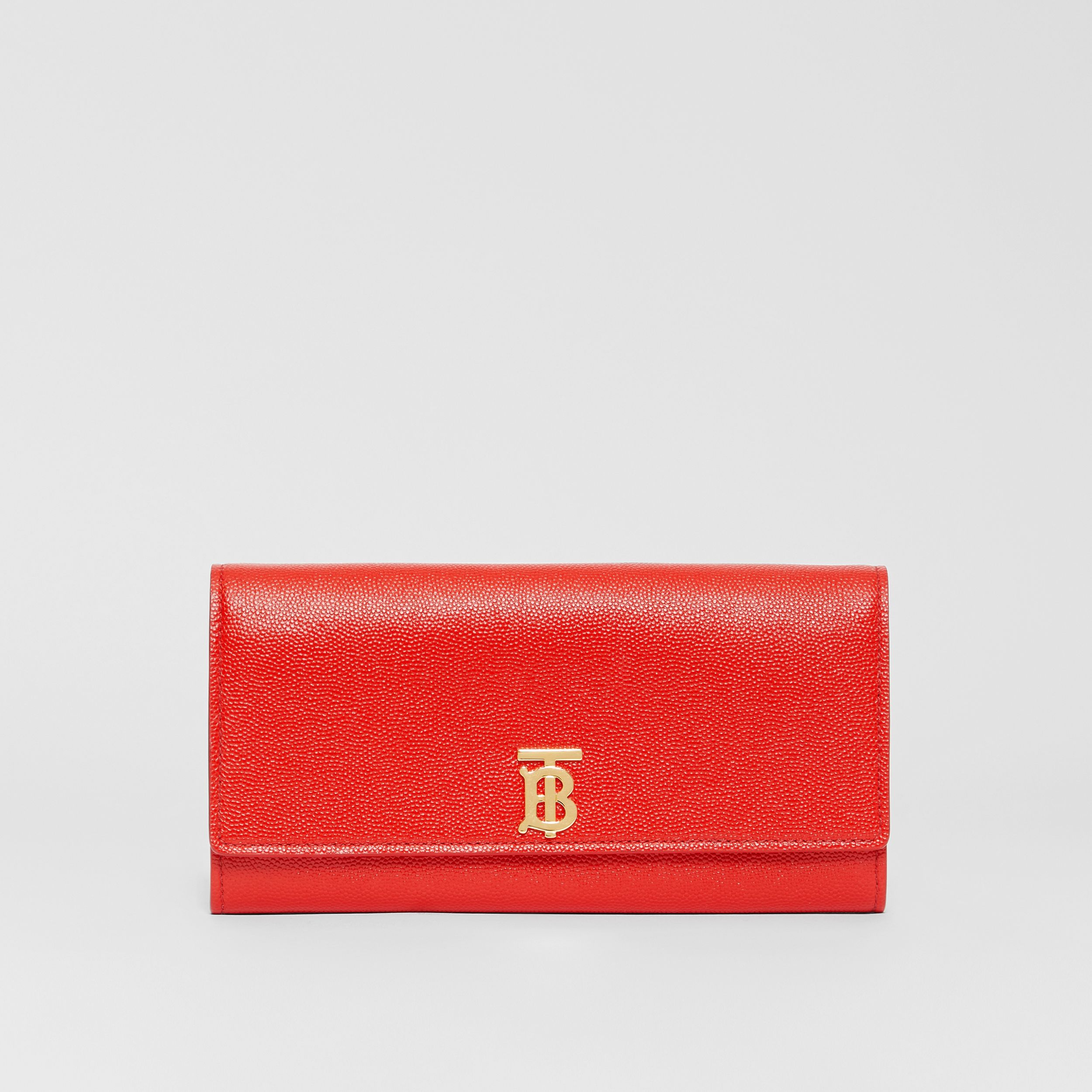 Monogram Motif Grainy Leather Continental Wallet in Bright Red - Women | Burberry - 1