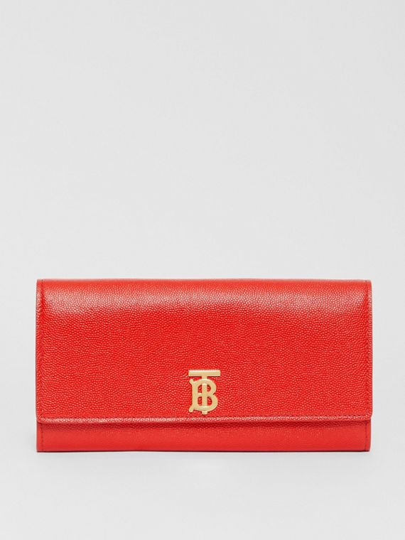 Monogram Motif Grainy Leather Continental Wallet in Bright Red