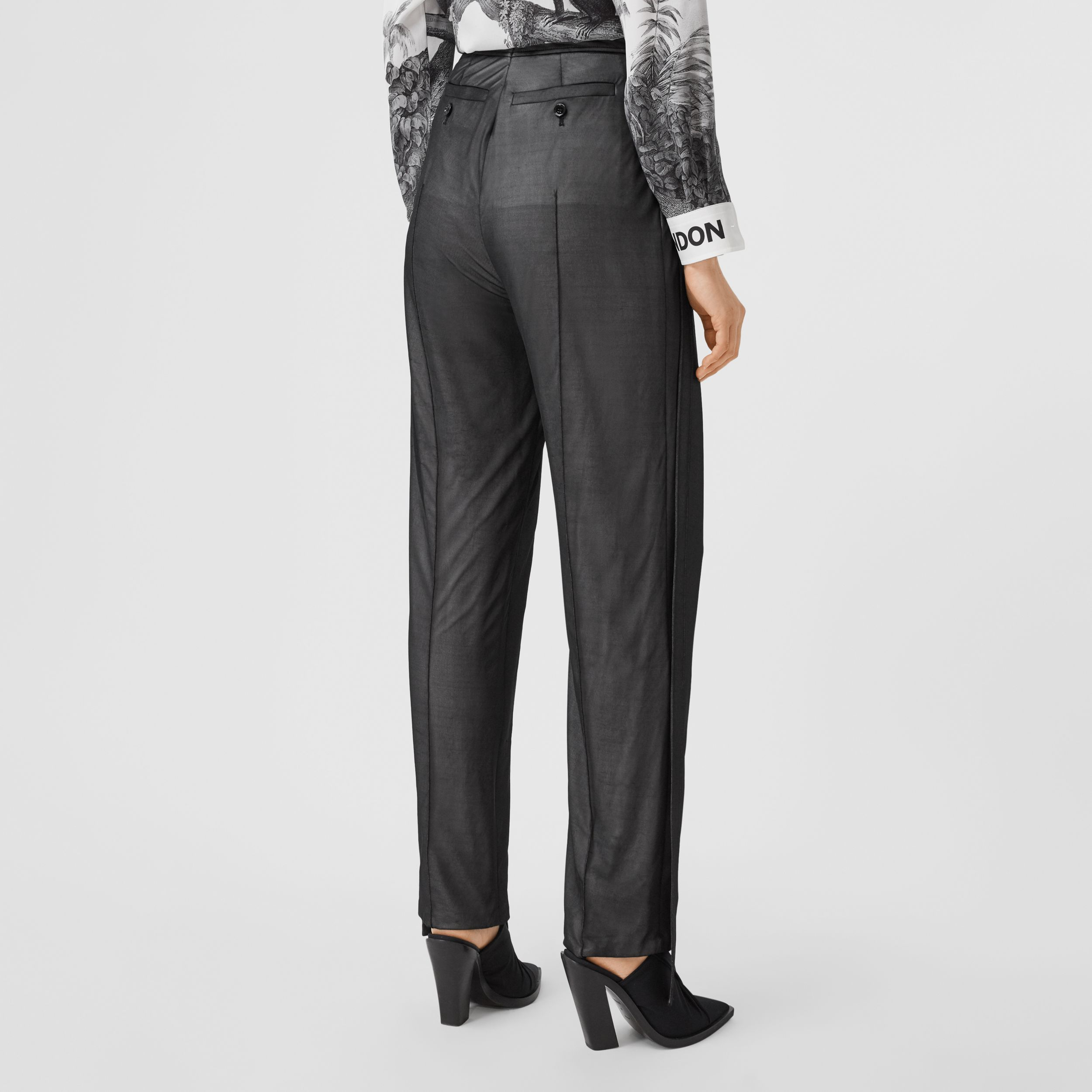 Strap Detail Chiffon and Jersey Tailored Trousers in Black - Women | Burberry - 3