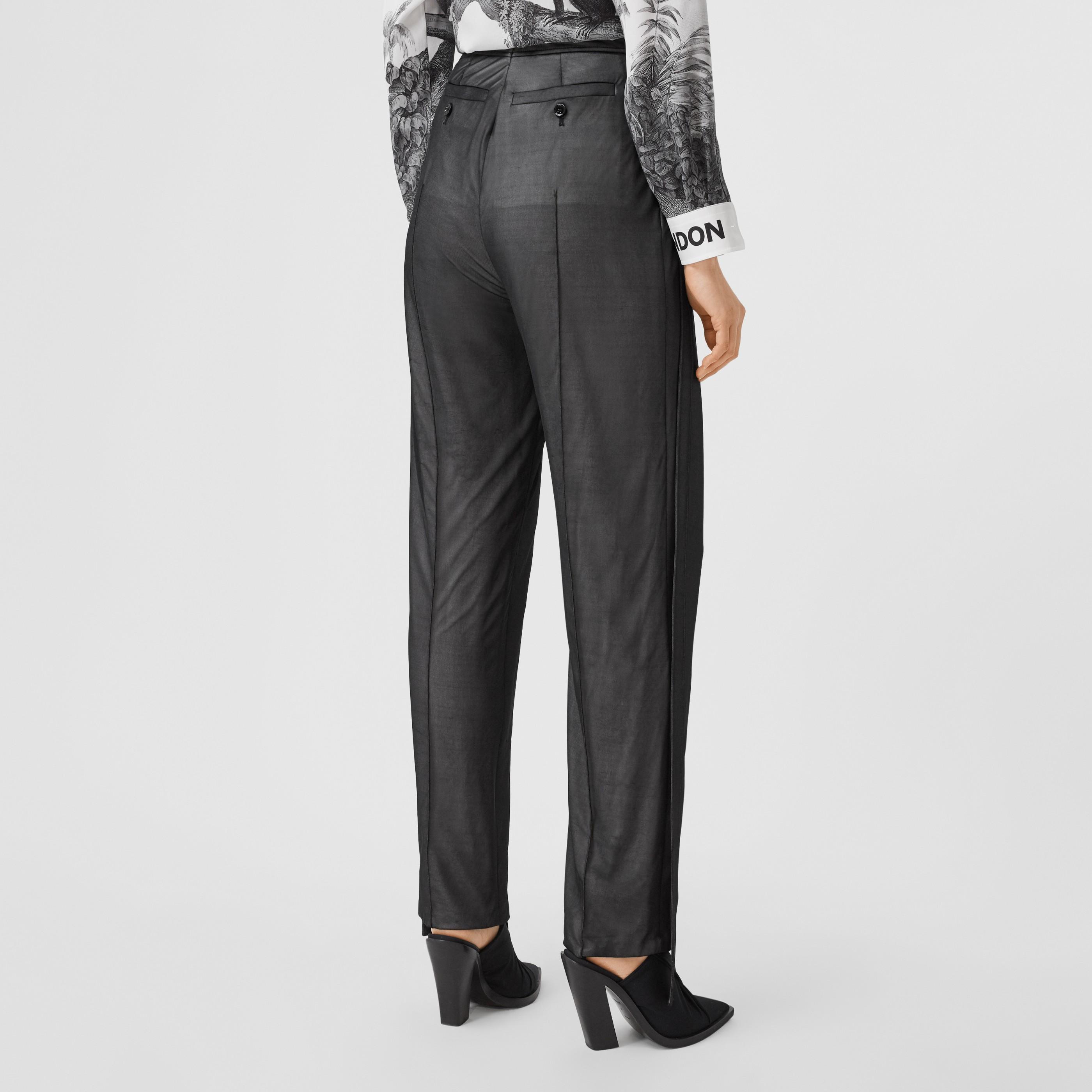 Pantaloni sartoriali in chiffon e jersey con cinturini (Nero) - Donna | Burberry - 3