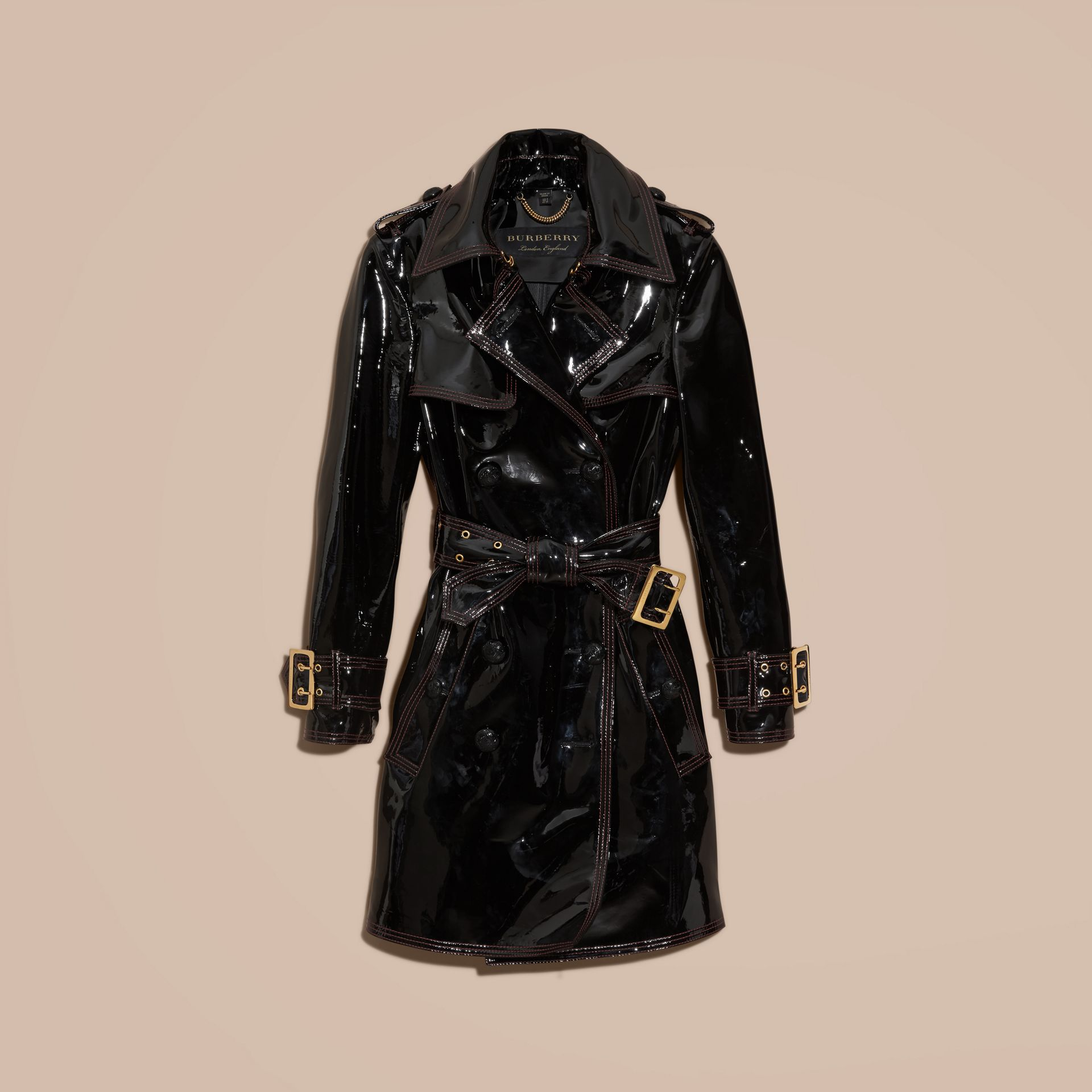 Black Unlined Patent Leather Trench Coat - gallery image 4