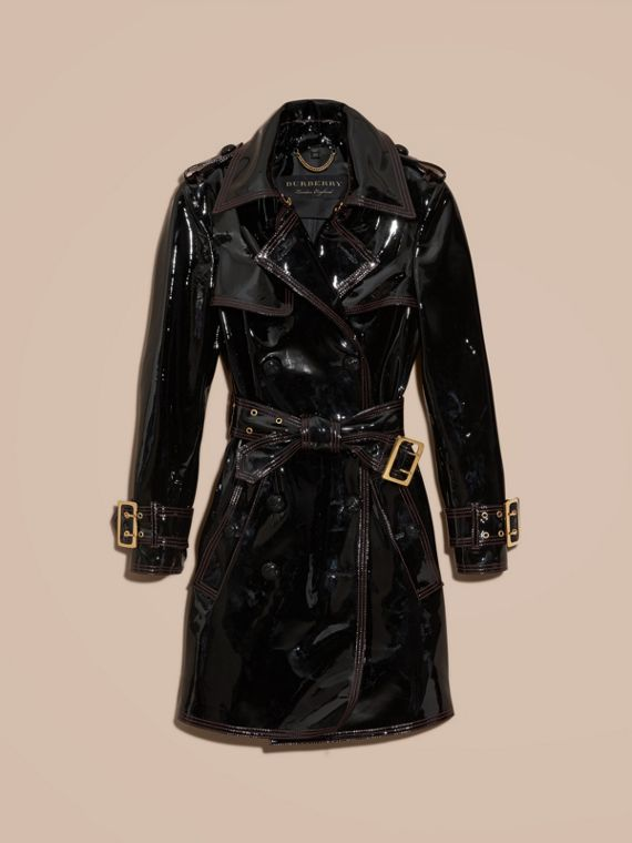 Black Unlined Patent Leather Trench Coat - cell image 3
