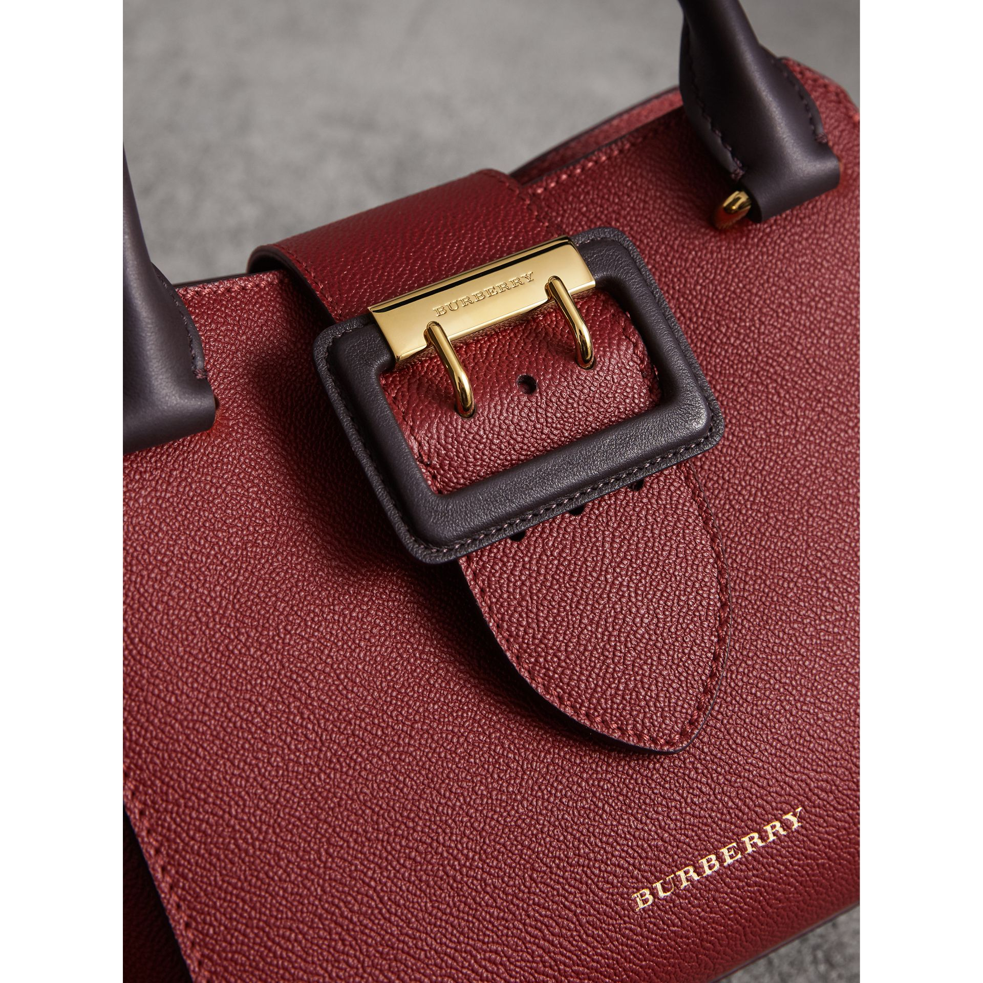 The Small Buckle Tote in Two-tone Leather in Burgundy - Women | Burberry United Kingdom - gallery image 2