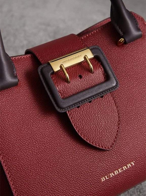 The Small Buckle Tote in Two-tone Leather in Burgundy - Women | Burberry - cell image 1