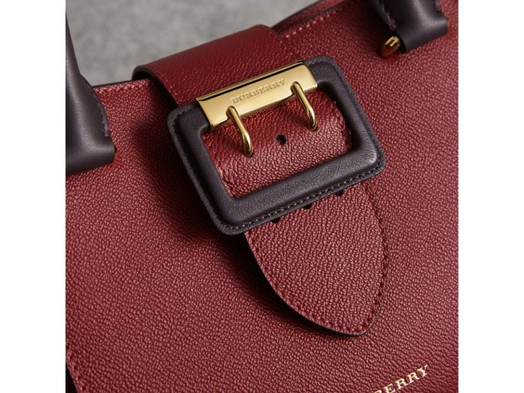 The Small Buckle Tote in Two-tone Leather in Burgundy - Women | Burberry United States - cell image 1