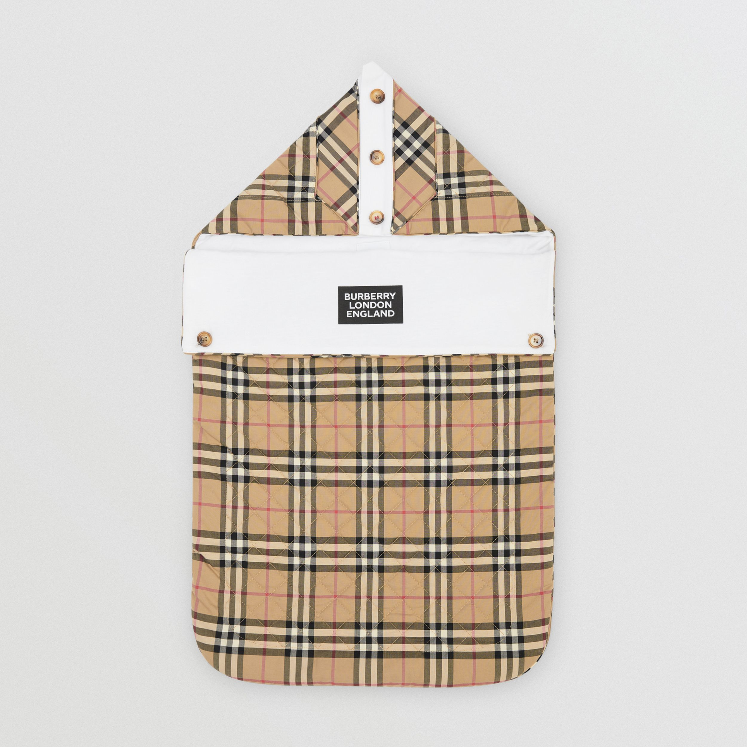 Logo Print Vintage Check Cotton Baby Nest in Archive Beige - Children | Burberry - 3
