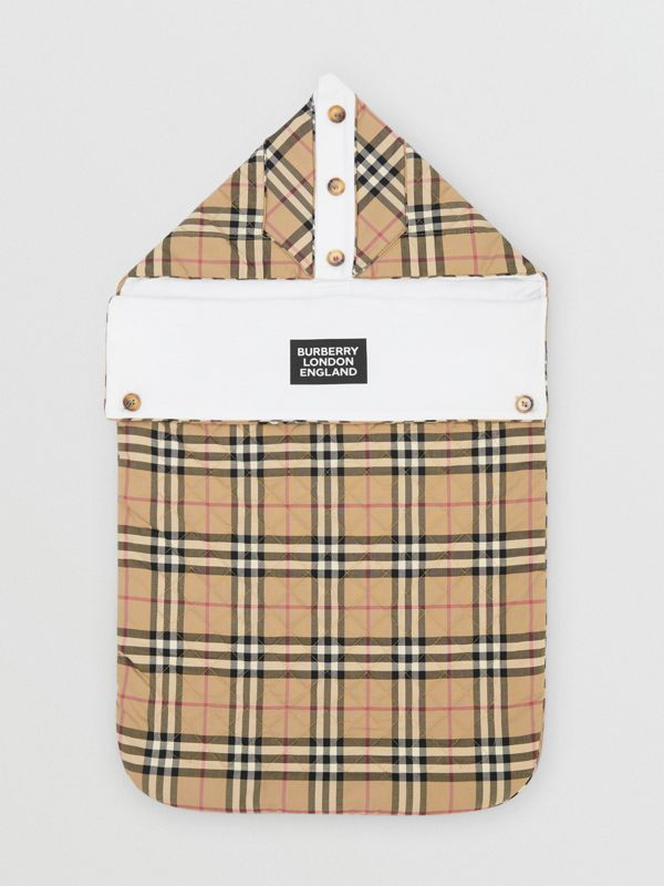 Logo Print Vintage Check Cotton Baby Nest in Archive Beige - Children | Burberry United Kingdom - cell image 2