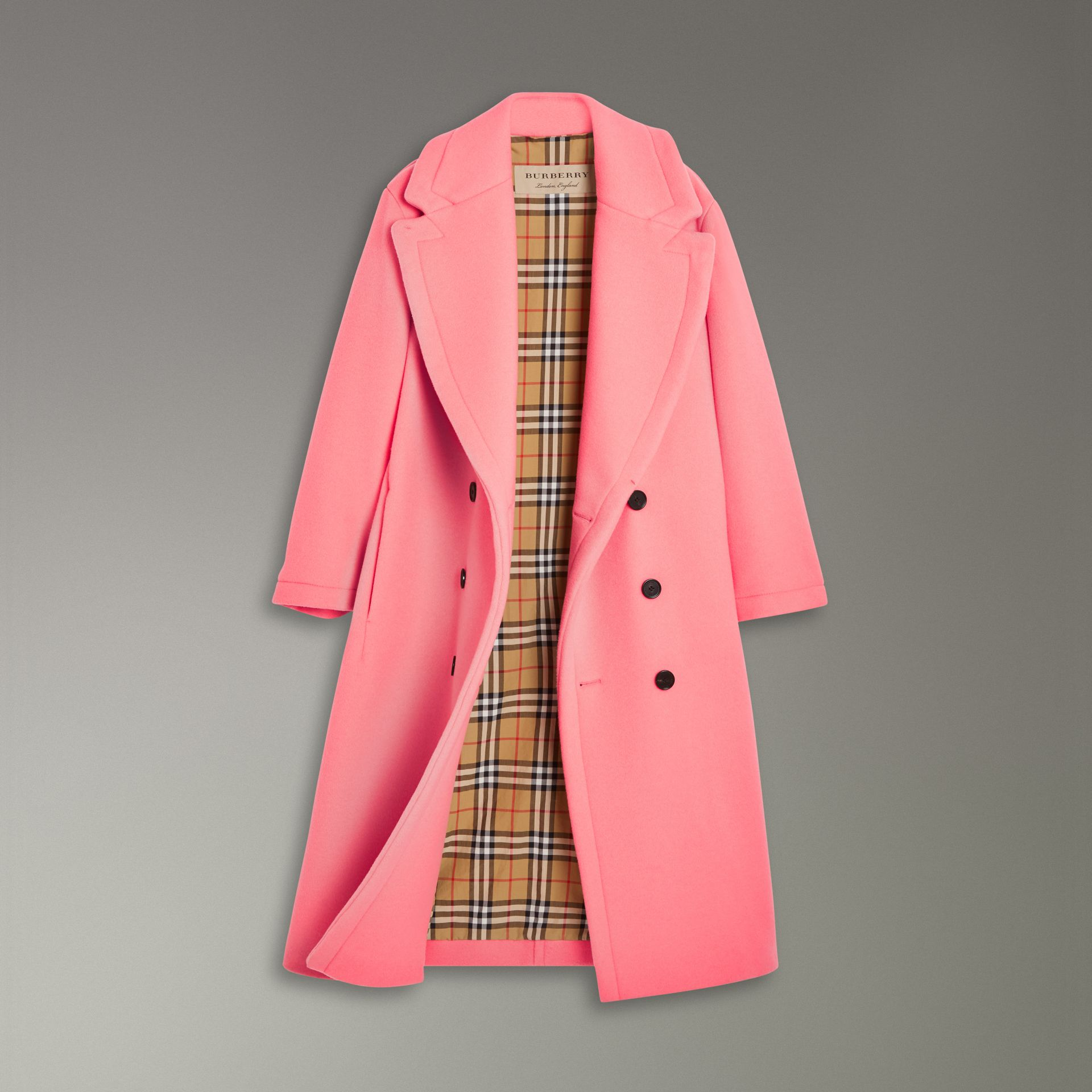 Double-faced Wool Cashmere Oversized Coat in Bright Coral Pink | Burberry - gallery image 1