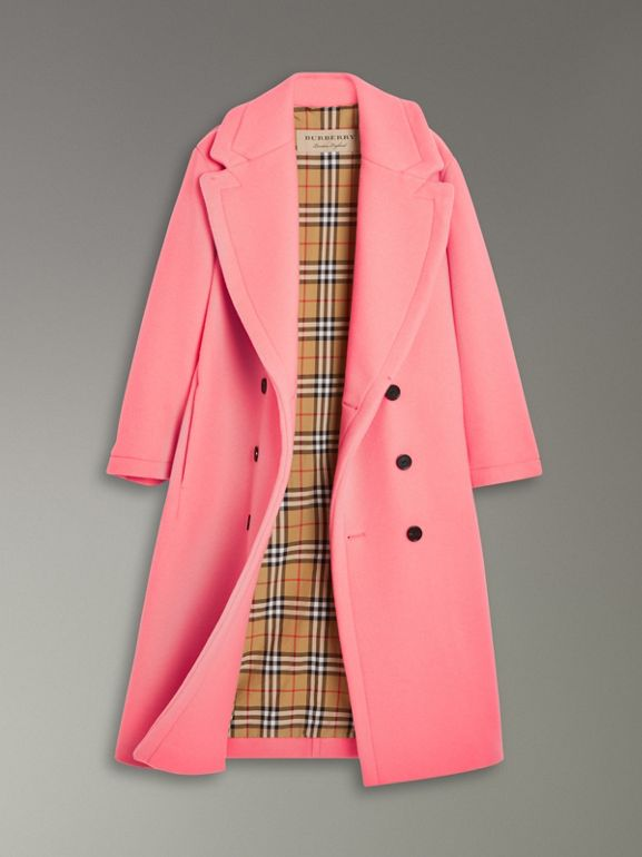 Double-faced Wool Cashmere Cocoon Coat in Bright Coral Pink | Burberry - cell image 1