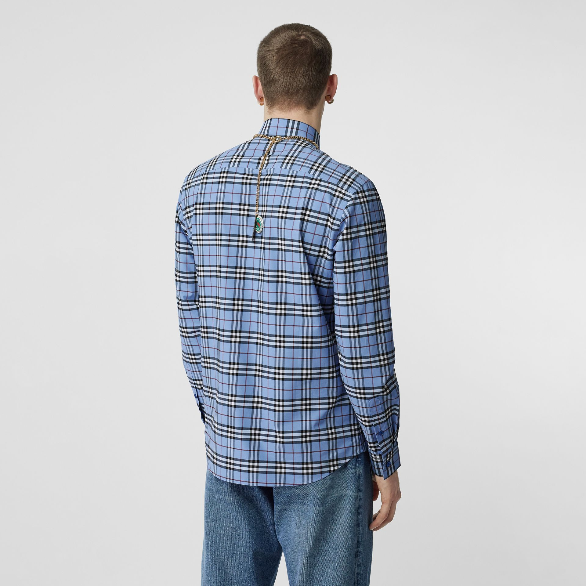 Vintage Check Stretch Cotton Poplin Shirt in Opal Blue - Men | Burberry - gallery image 2