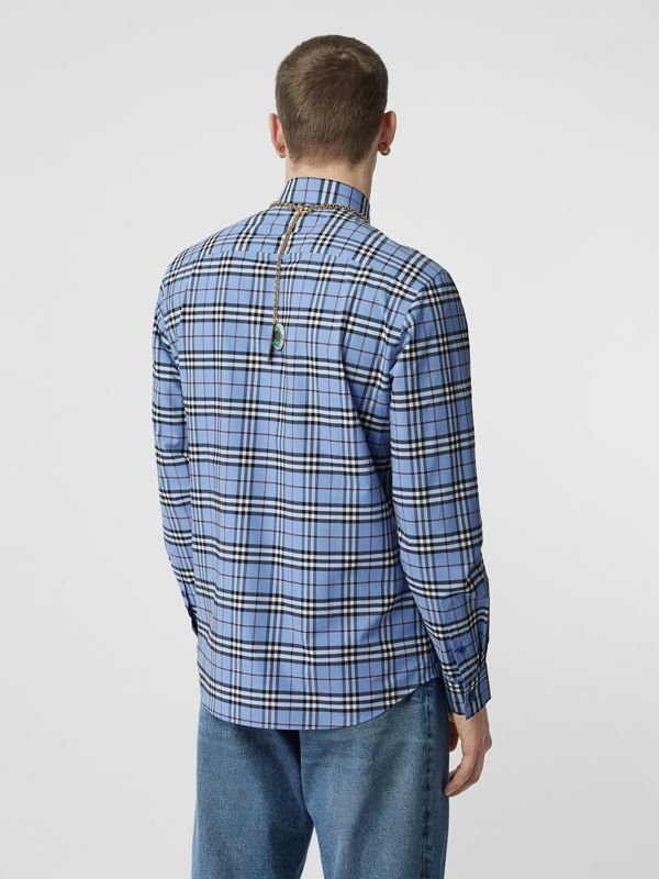 Vintage Check Stretch Cotton Poplin Shirt in Opal Blue - Men | Burberry - cell image 2