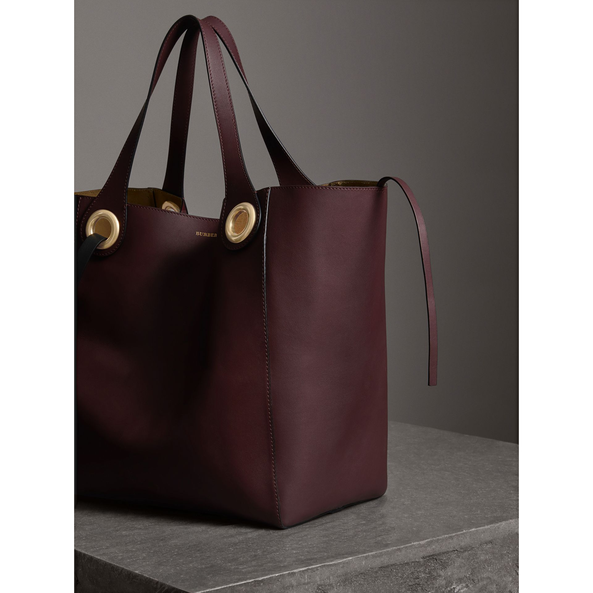 The Large Leather Grommet Detail Tote in Deep Claret | Burberry - gallery image 6