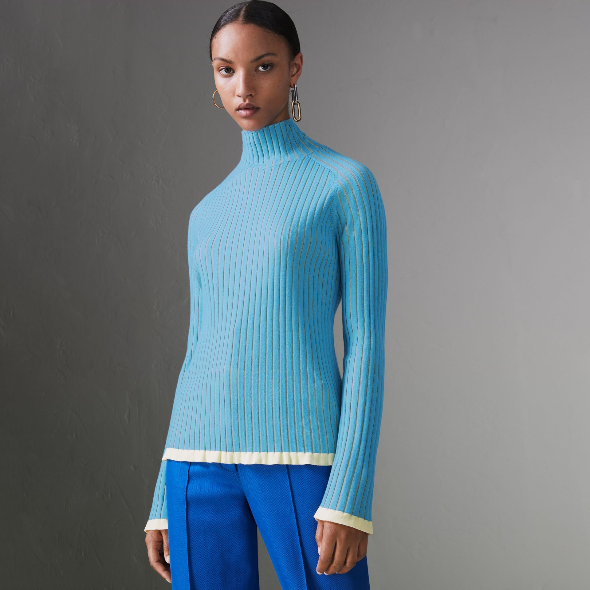 Silk Cashmere Turtleneck Sweater in Pale Blue - Women | Burberry - gallery image 0