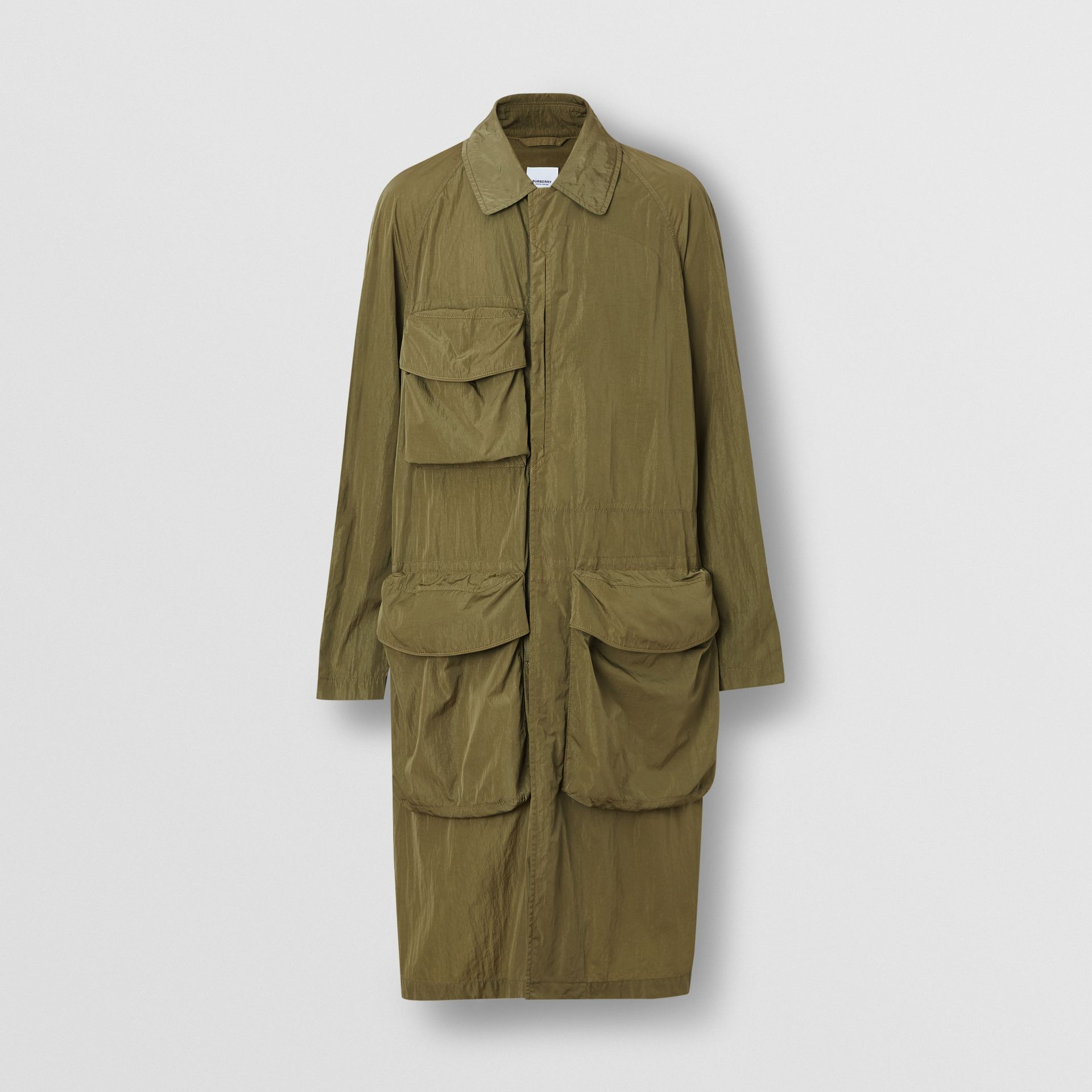 Pocket Detail Nylon Car Coat in Light Moss - Men | Burberry - gallery image 3