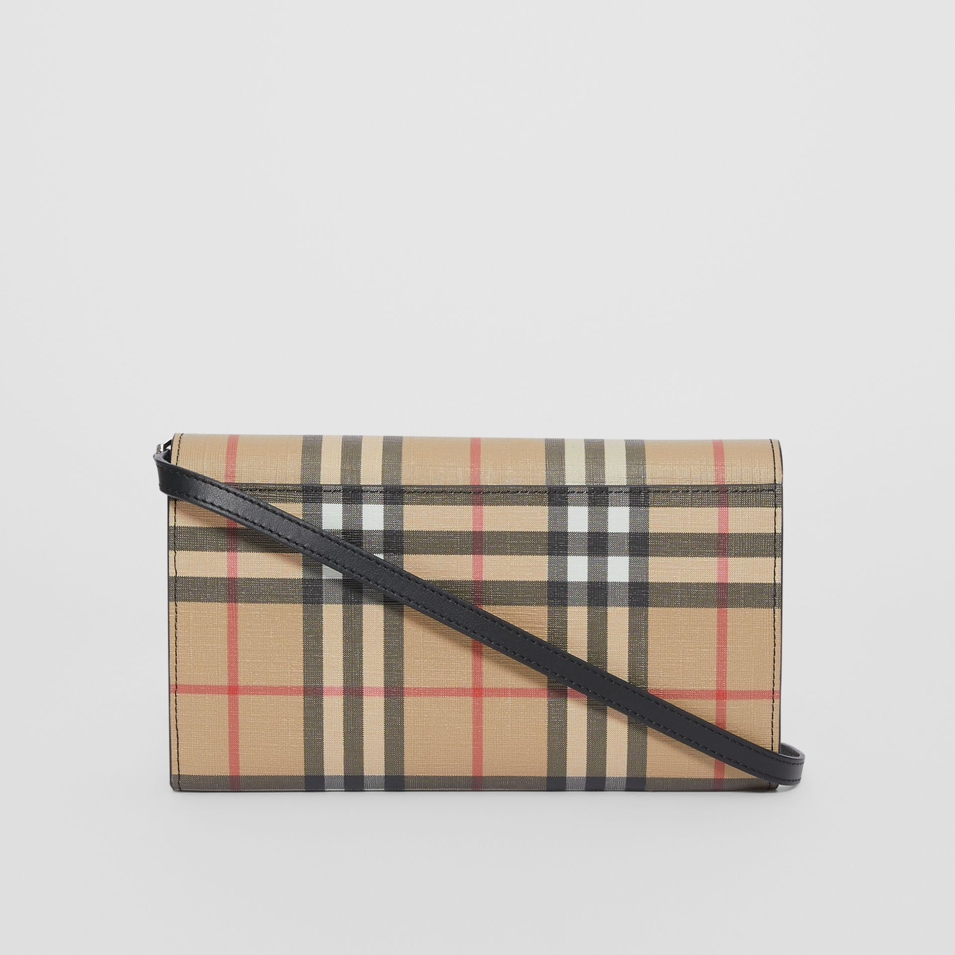 Vintage Check E-canvas Wallet with Detachable Strap in Black - Women | Burberry - gallery image 8