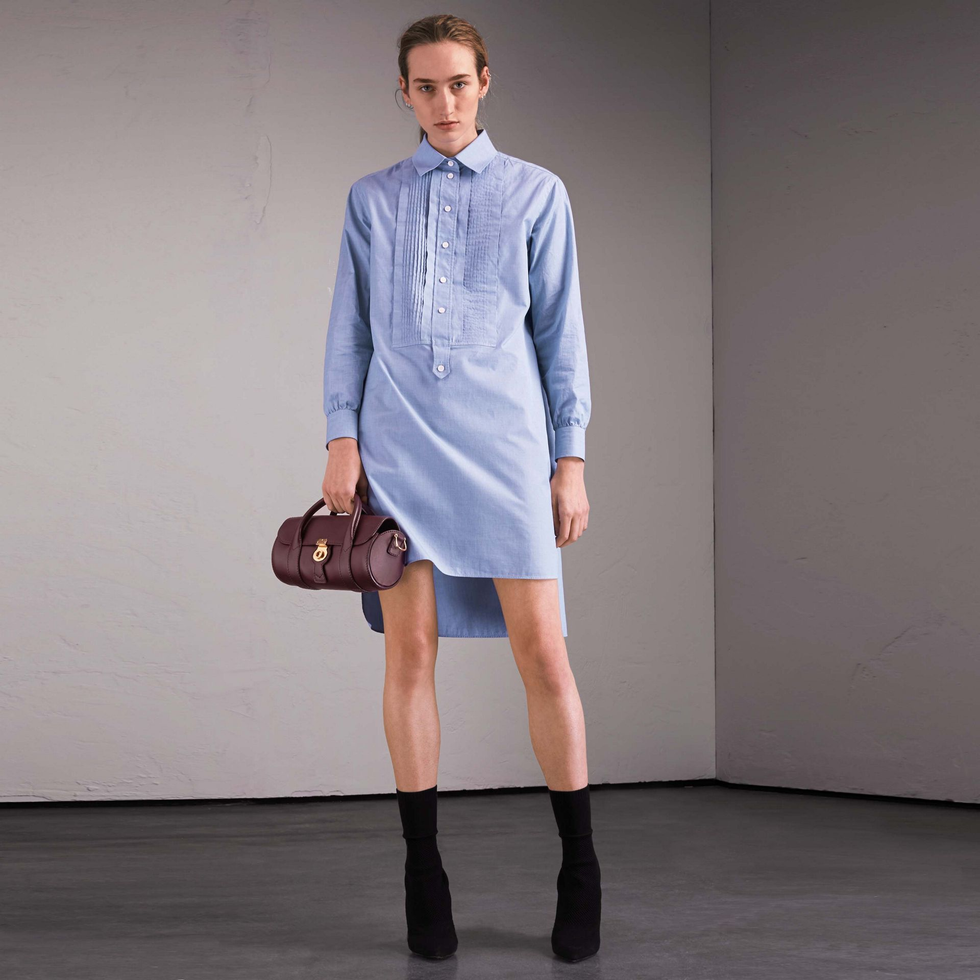 Cotton Chambray Tunic Shirt Dress - gallery image 1