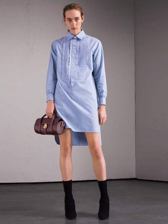Cotton Chambray Tunic Shirt Dress