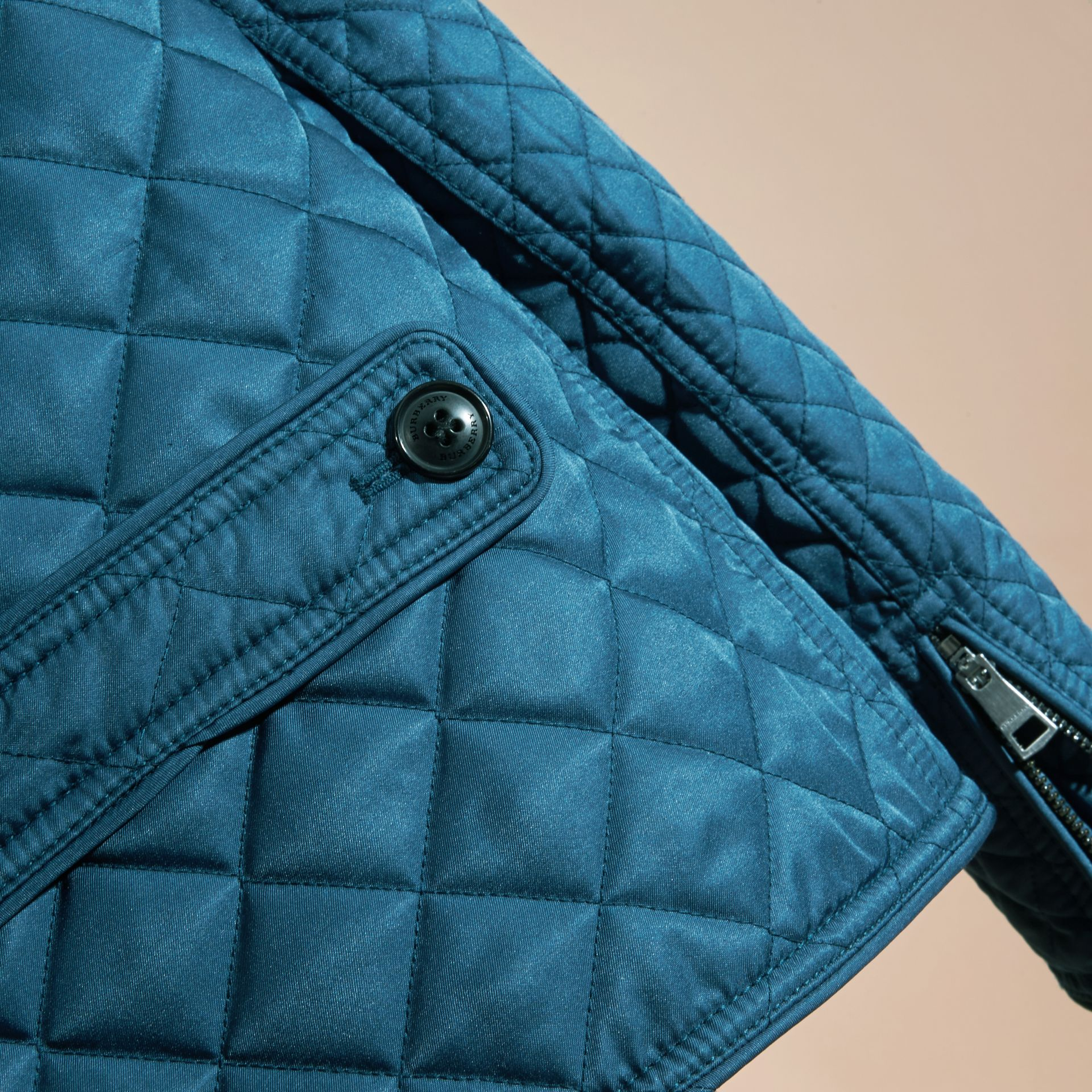 Pale indigo Collarless Diamond Quilted Jacket Pale Indigo - gallery image 2