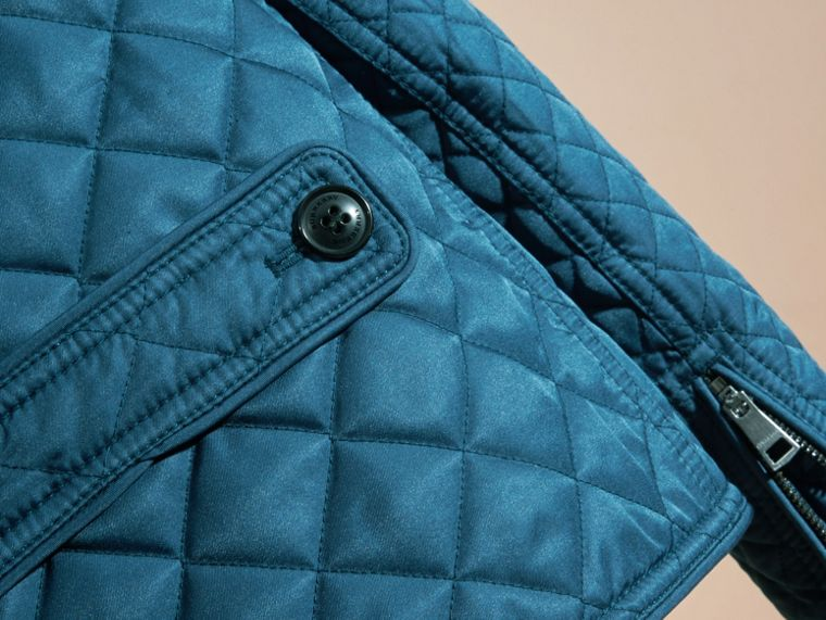Pale indigo Collarless Diamond Quilted Jacket Pale Indigo - cell image 1