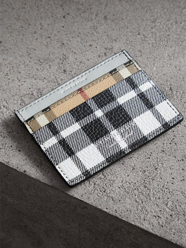 Creature Appliqué Metallic Leather and Check Card Case in Silver/multicolour | Burberry - cell image 2