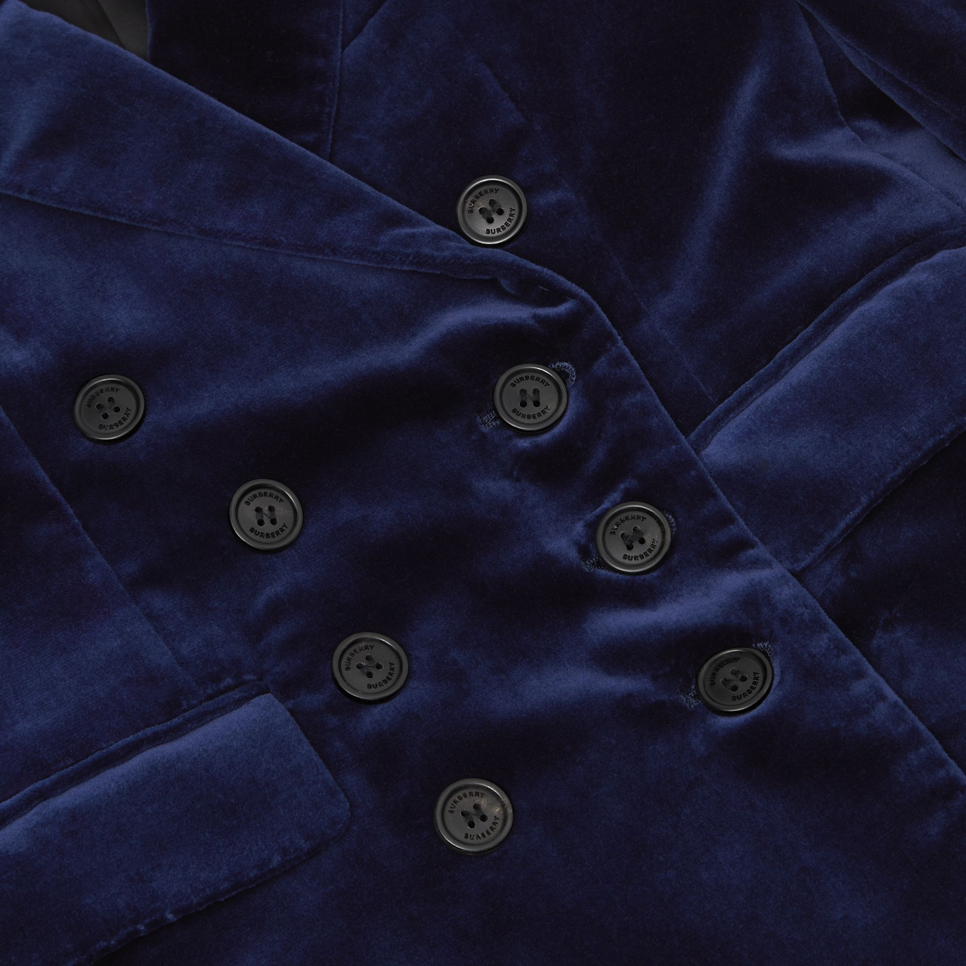 Velvet Double-breasted Blazer in Midnight Blue | Burberry - gallery image 1