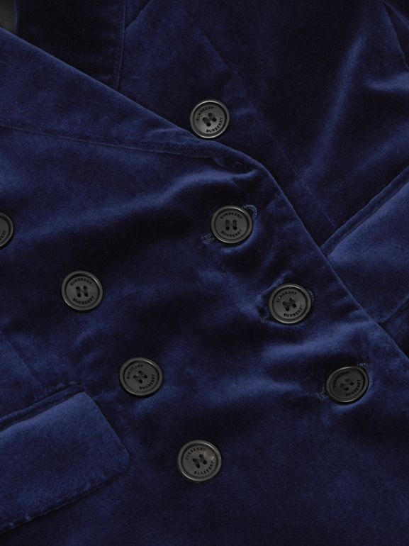 Velvet Double-breasted Blazer in Midnight Blue | Burberry Canada - cell image 1