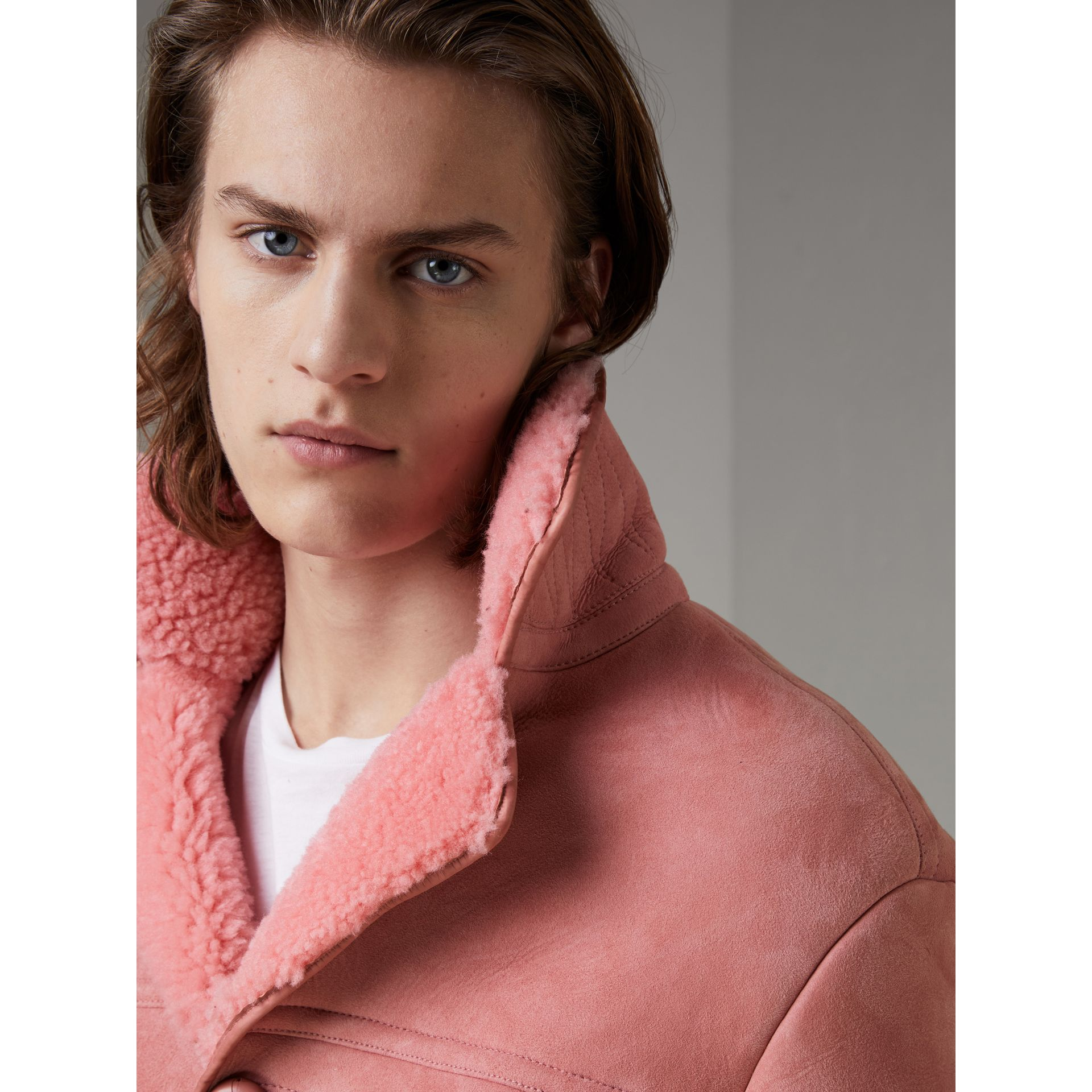 Leather Trim Shearling Jacket in Copper Pink - Men | Burberry - gallery image 1