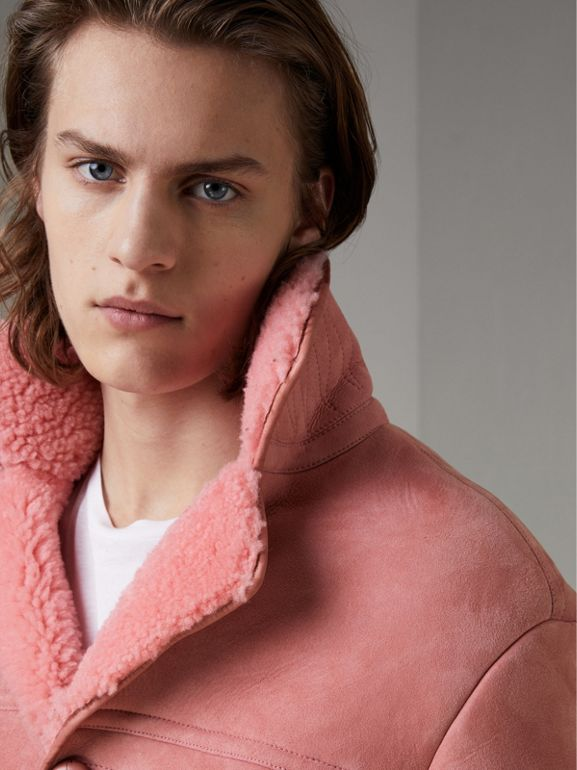 Leather Trim Shearling Jacket in Copper Pink - Men | Burberry - cell image 1