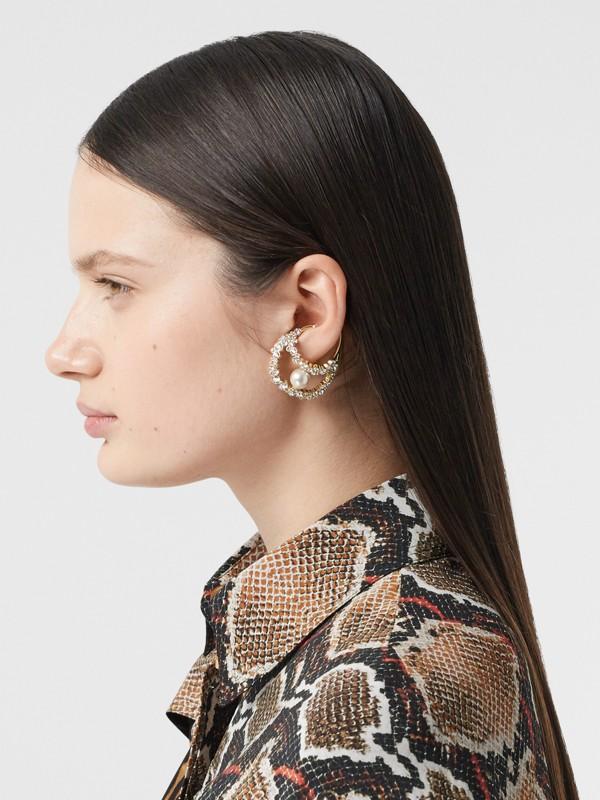 Manchette d'oreille plaquée or avec cristaux et perle en résine (Clair/cristal) - Femme | Burberry Canada - cell image 2