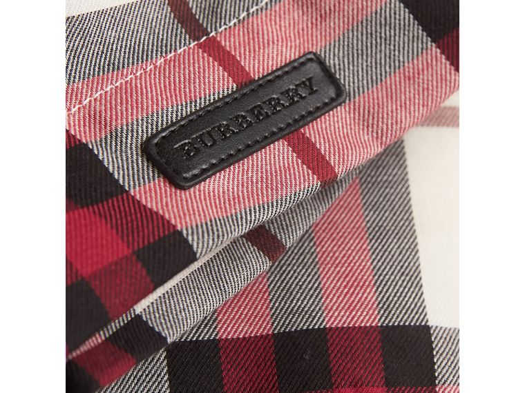 Ruffle Collar Check Cotton Flannel Top in Crimson Red | Burberry - cell image 1