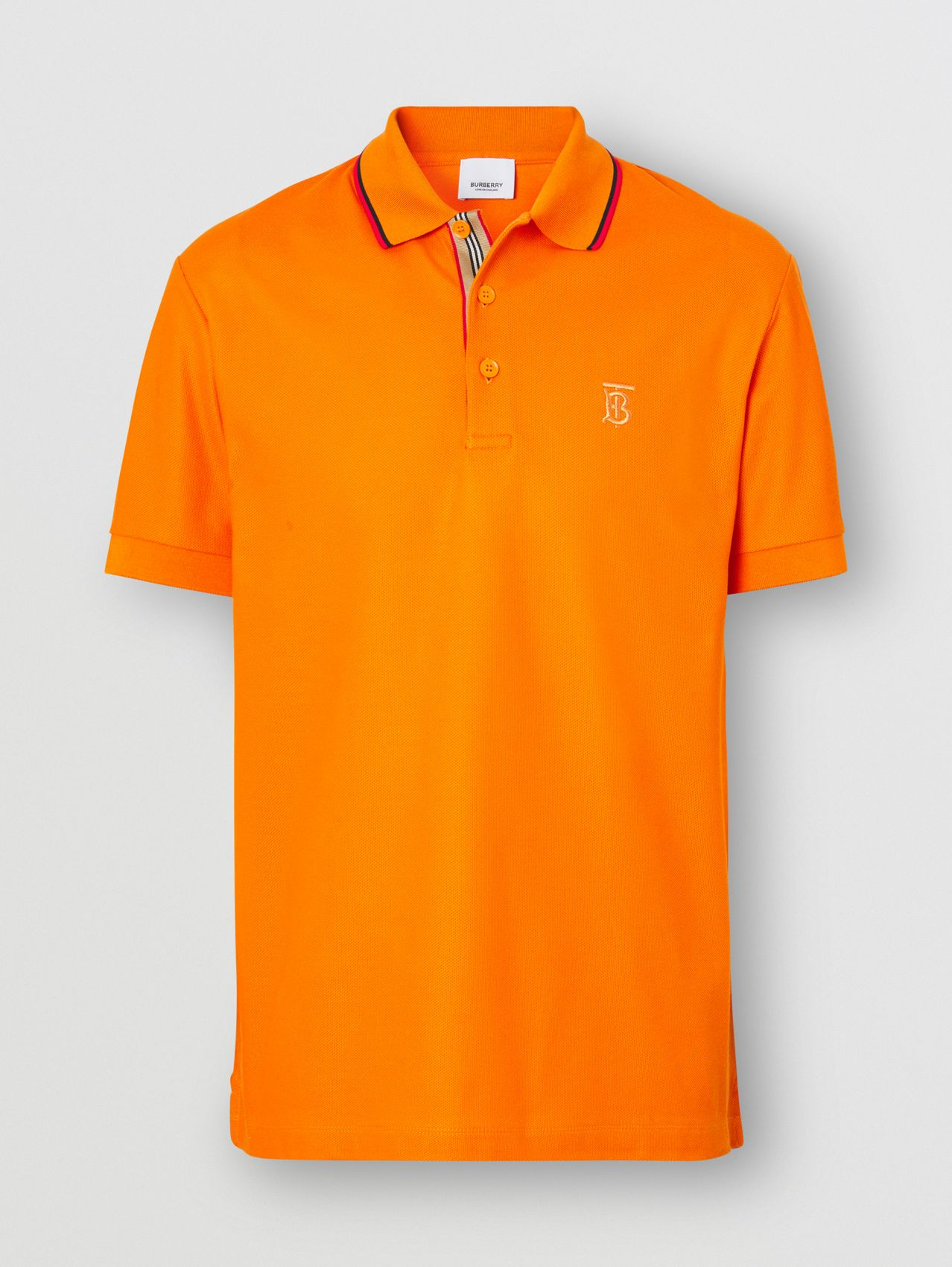 Monogram Motif Cotton Piqué Polo Shirt in Deep Orange