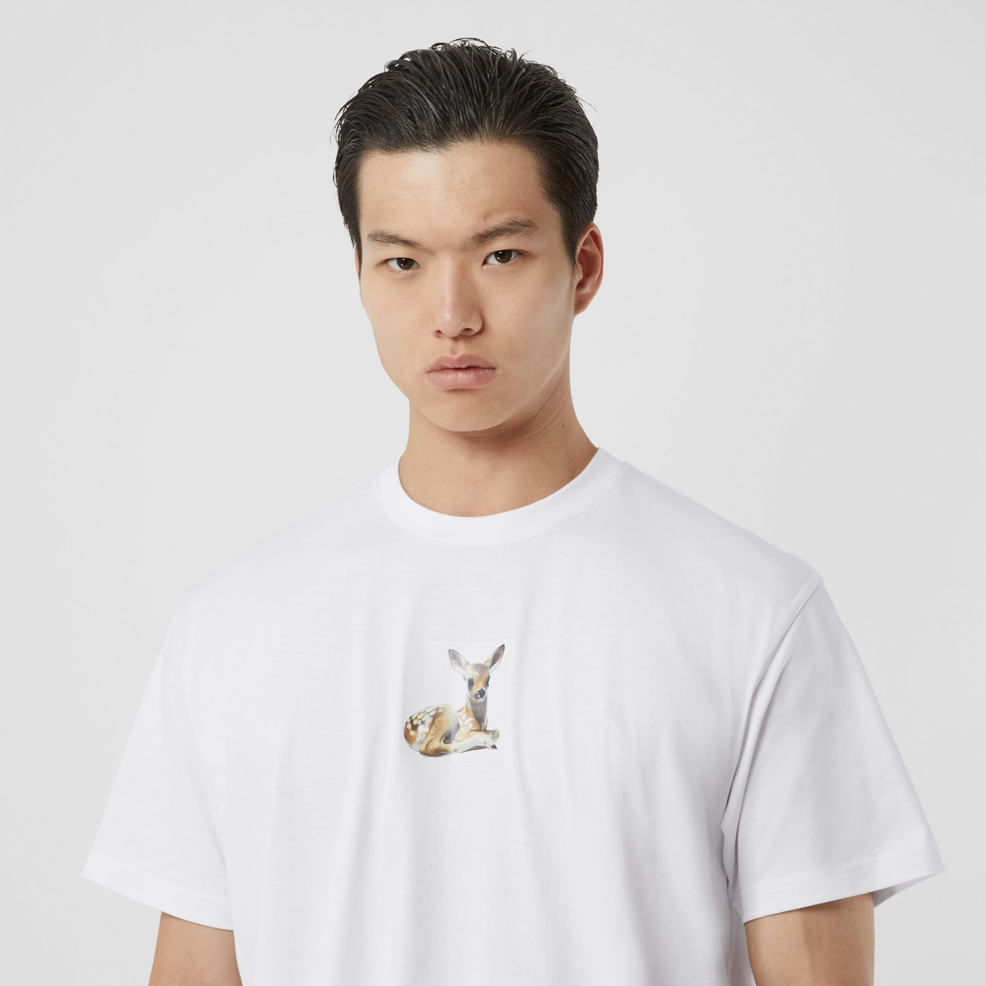 Deer Print Cotton Oversized T-shirt in White - Men | Burberry - gallery image 1