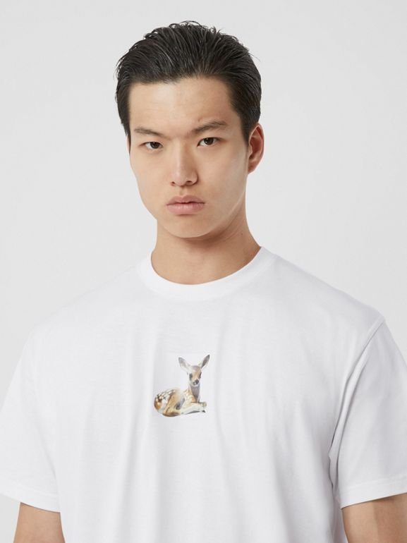 Deer Print Cotton Oversized T-shirt in White - Men | Burberry Singapore - cell image 1