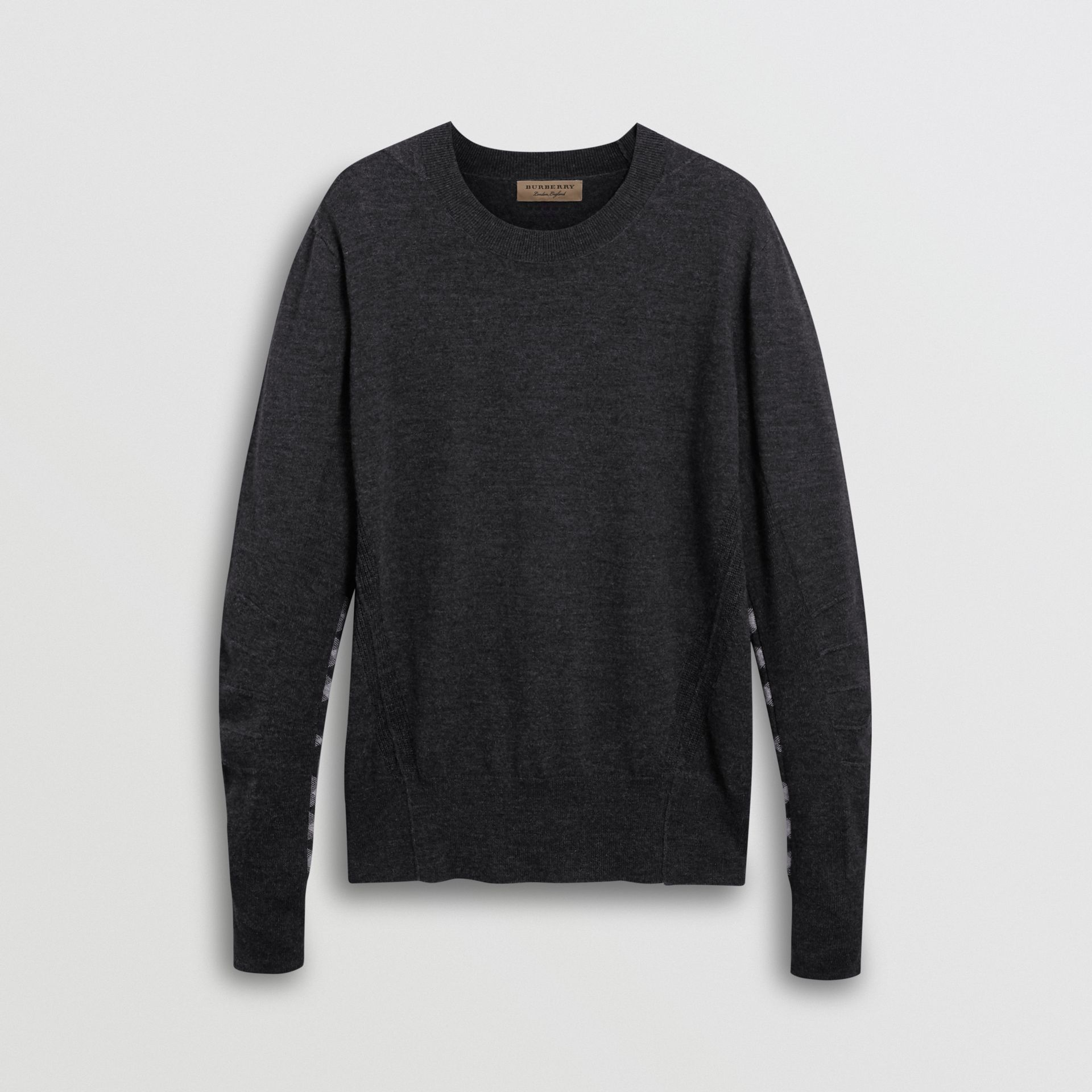 Check Detail Merino Wool Sweater in Charcoal - Men | Burberry Canada - gallery image 3