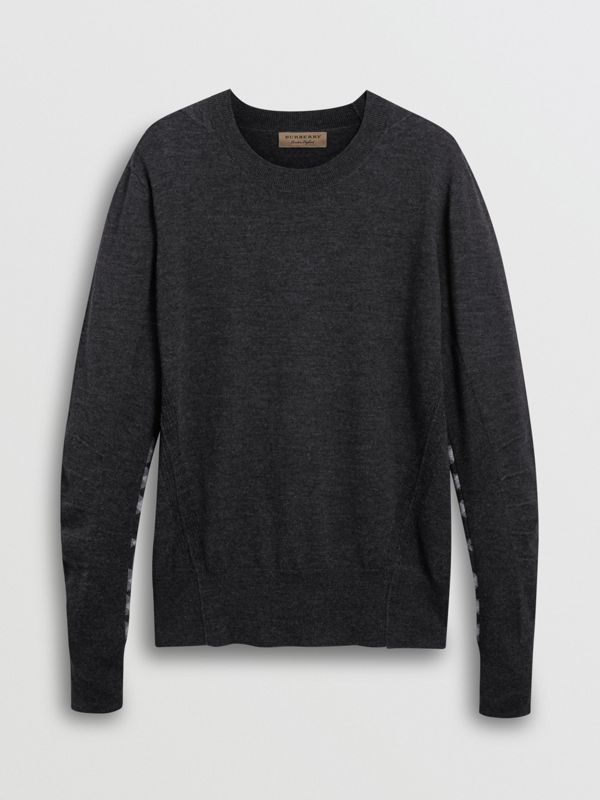 Check Detail Merino Wool Sweater in Charcoal - Men | Burberry Canada - cell image 3