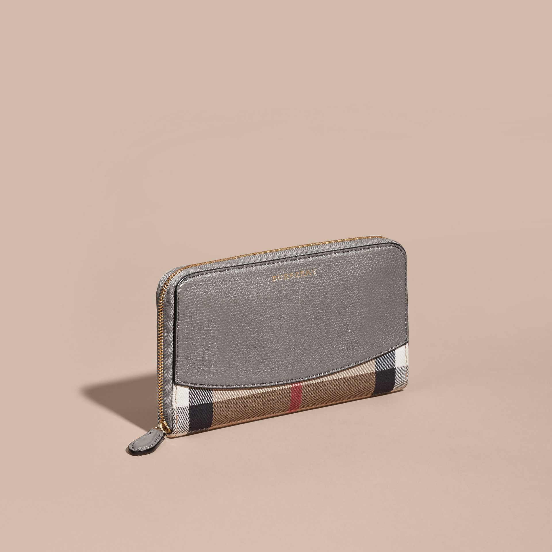 House Check and Leather Ziparound Wallet - gallery image 5