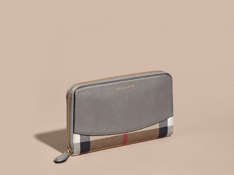 House Check and Leather Ziparound Wallet - cell image 4