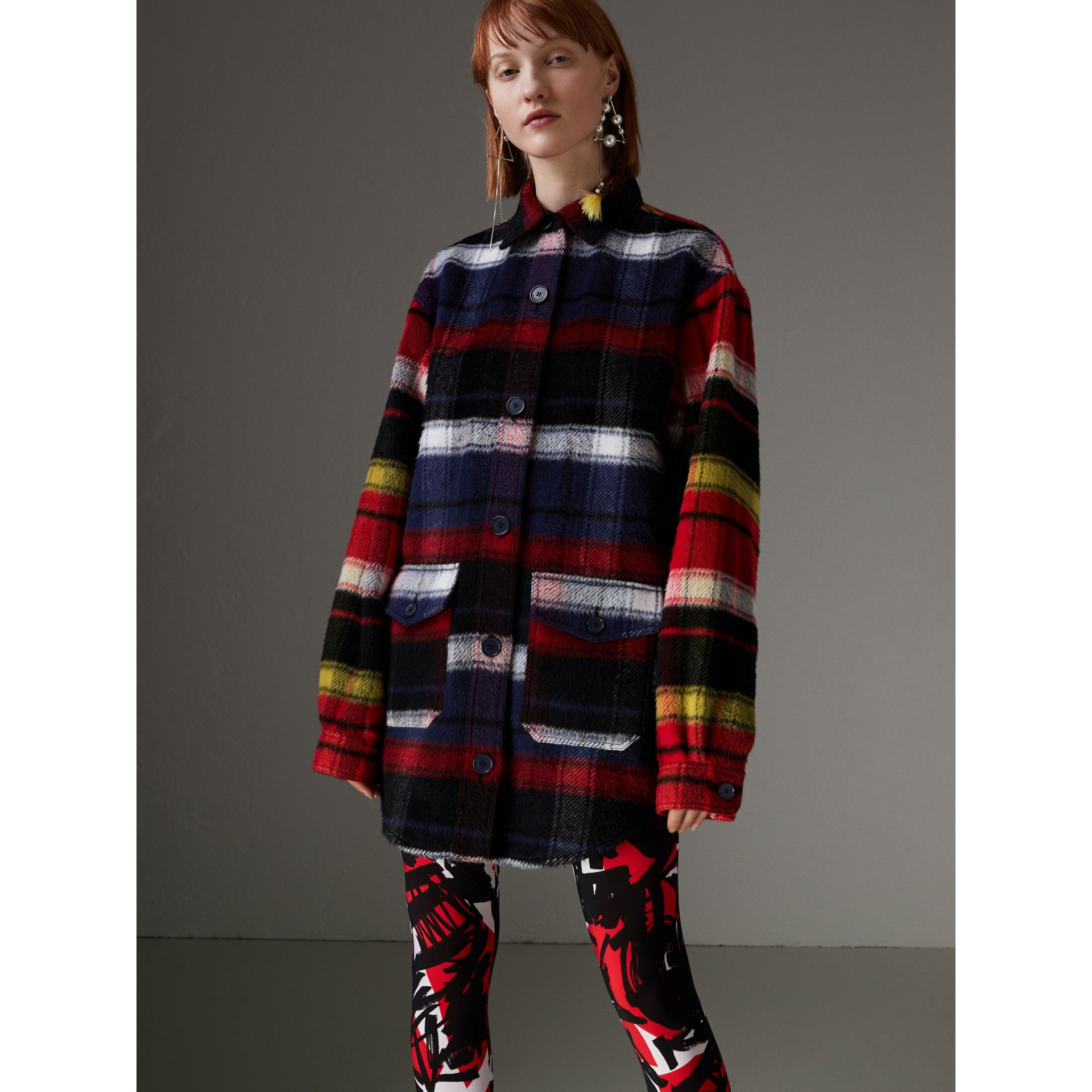 Check Alpaca Wool Jacket in Bright Navy - Women | Burberry - gallery image 4