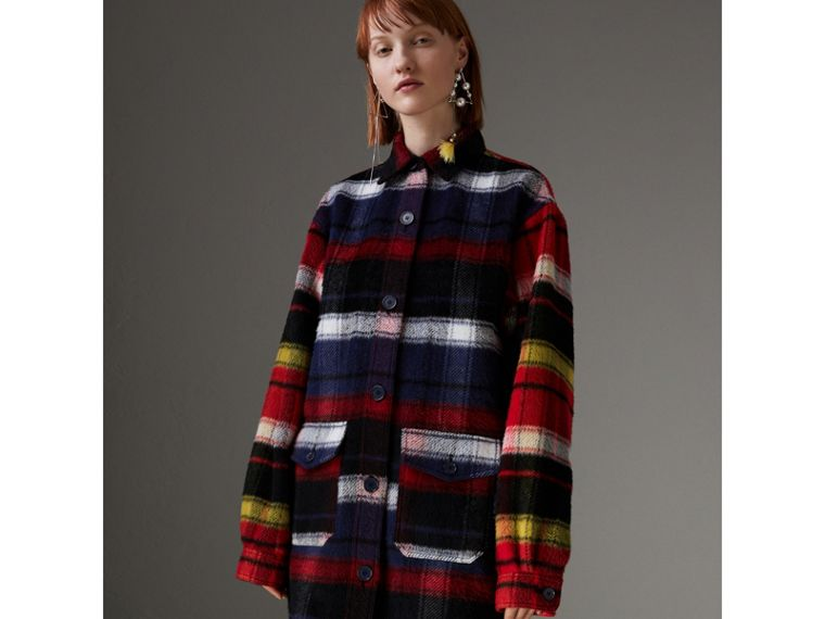 Check Alpaca Wool Jacket in Bright Navy - Women | Burberry - cell image 4
