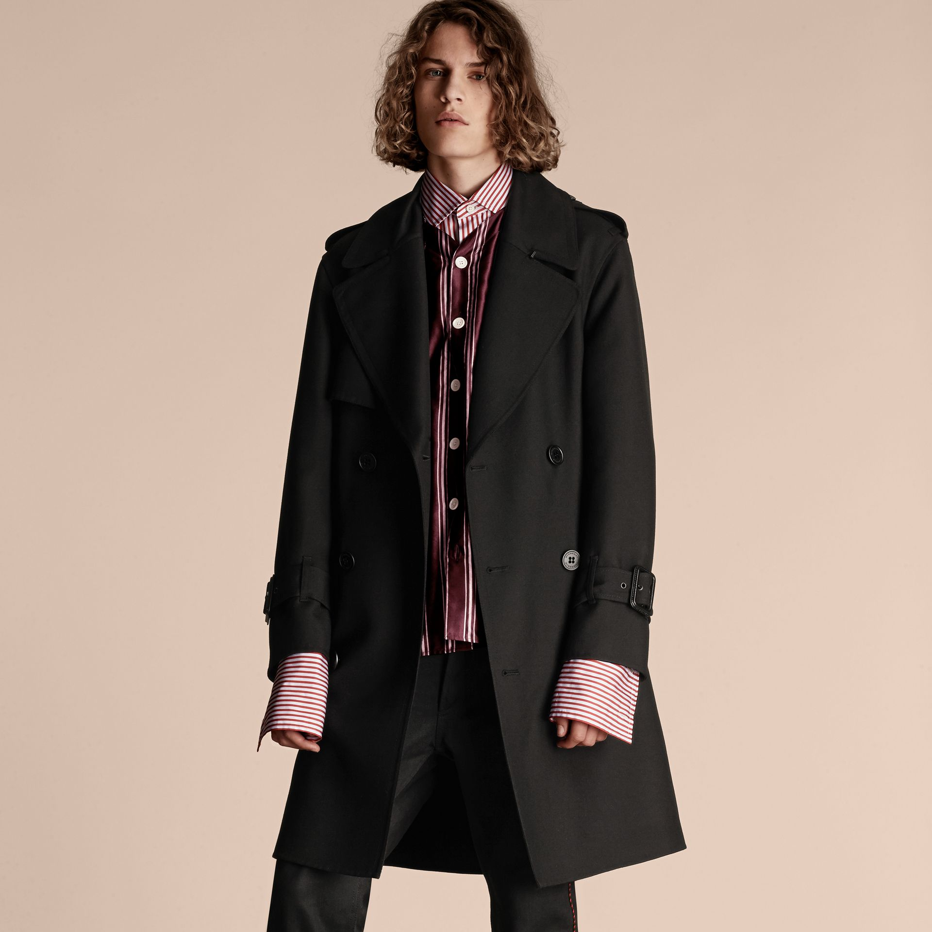 Black Relaxed Fit Wool Twill Trench Coat - gallery image 7