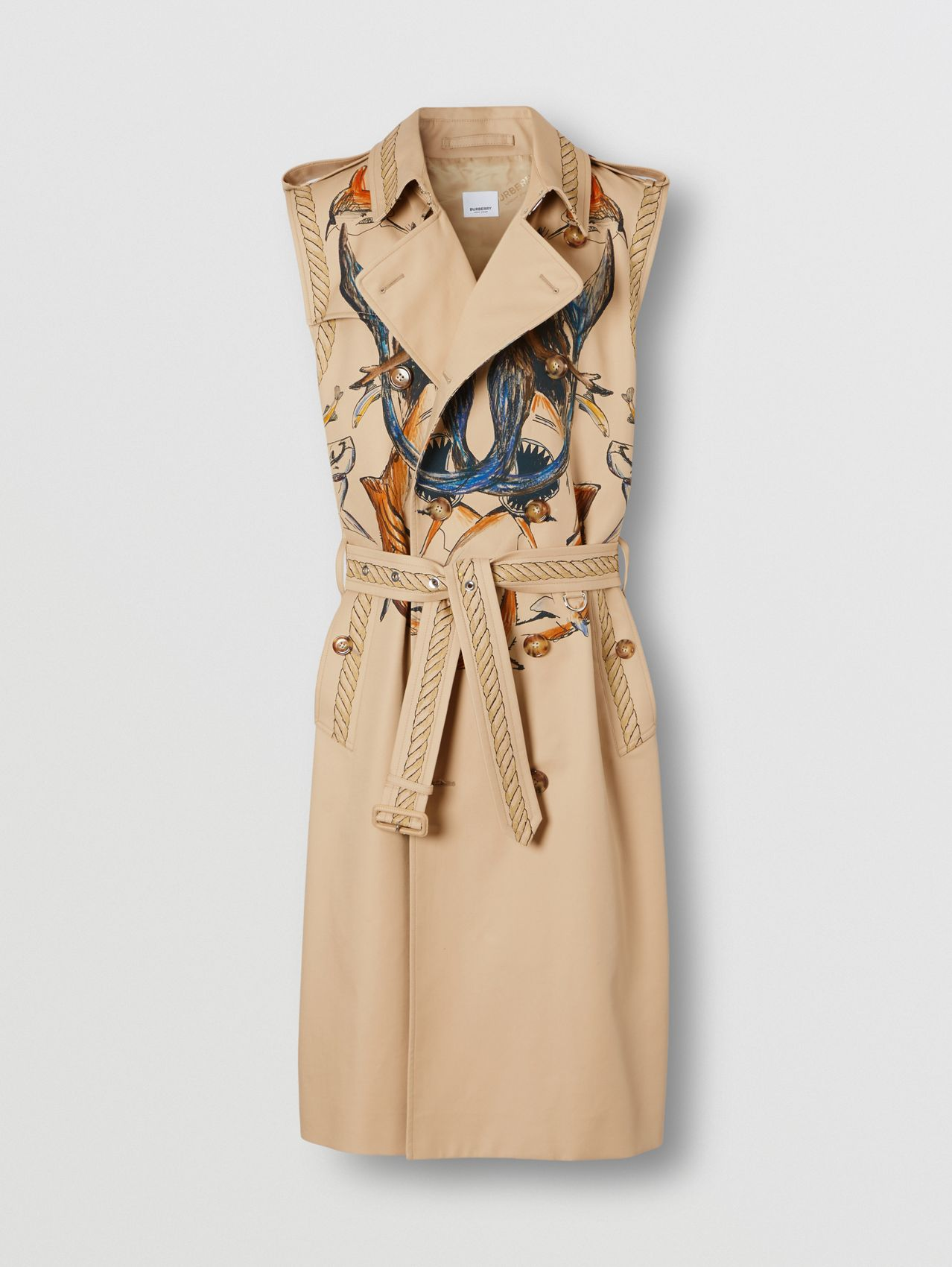 Marine Sketch Print Cotton Sleeveless Trench Coat in Soft Fawn