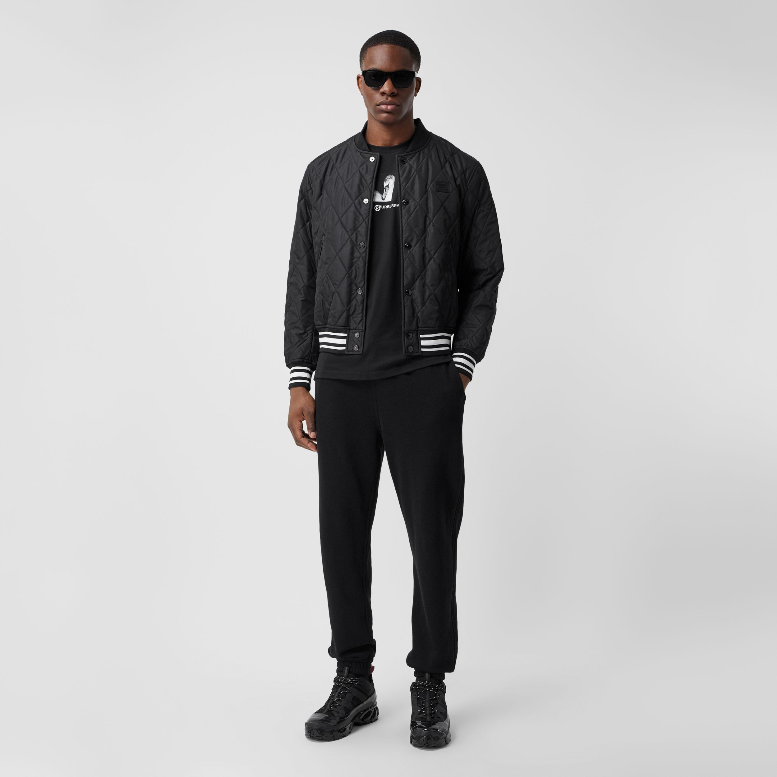 Logo Appliqué Diamond Quilted Nylon Canvas Jacket in Black - Men | Burberry Australia - 1
