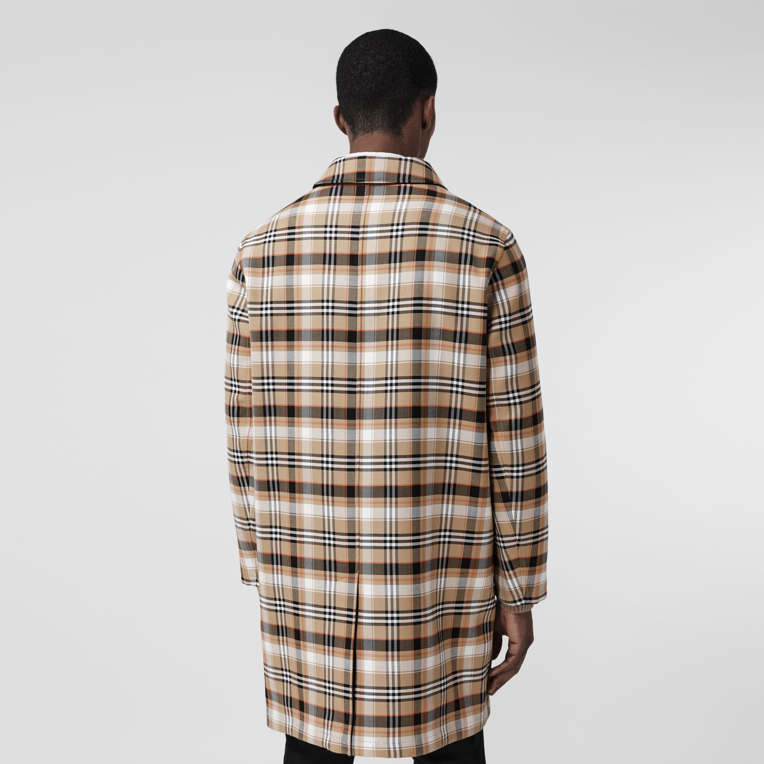 Reversible Check Wool Cotton Car Coat in Archive Beige - Men | Burberry United Kingdom - 3
