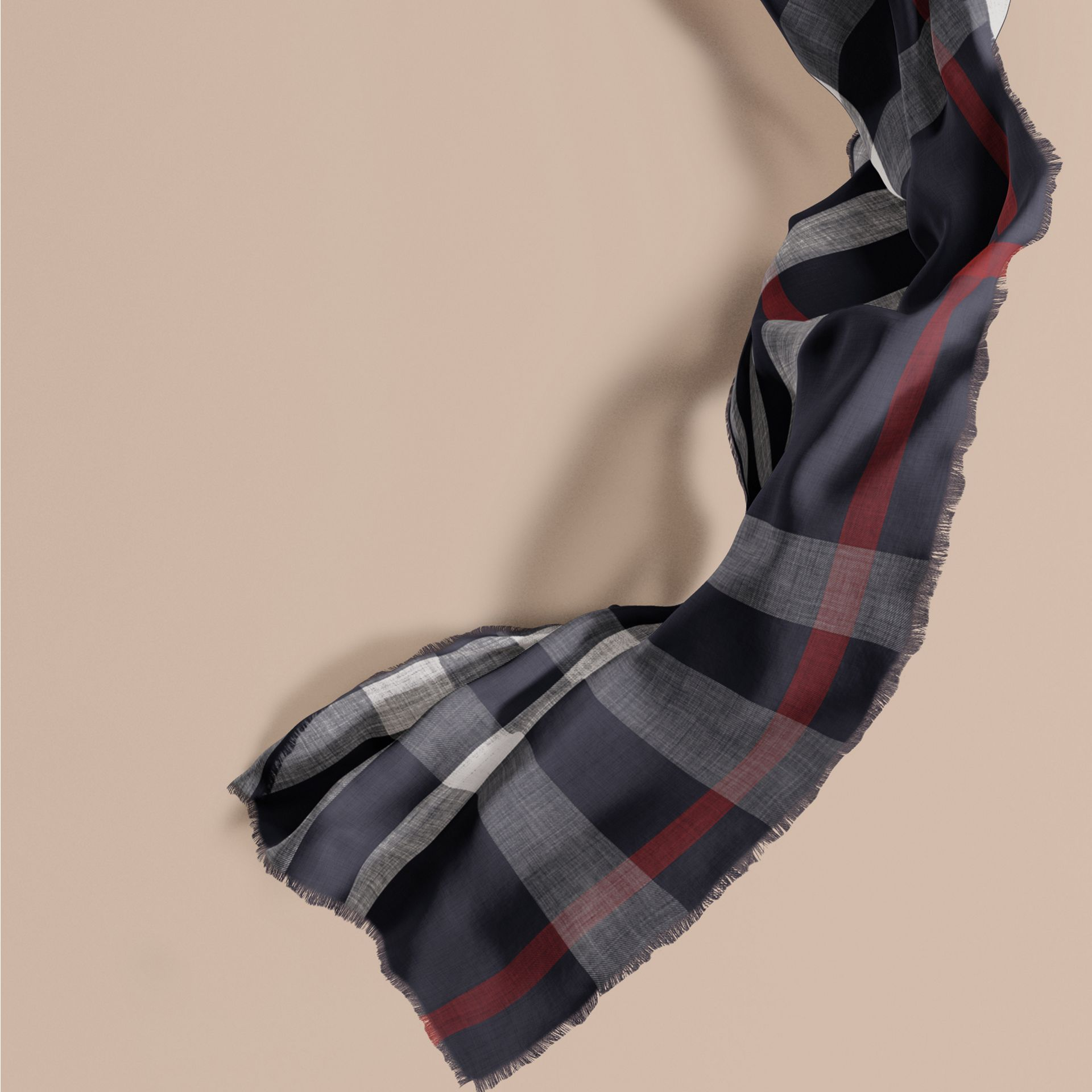 The Lightweight Cashmere Scarf in Check in Navy - gallery image 1