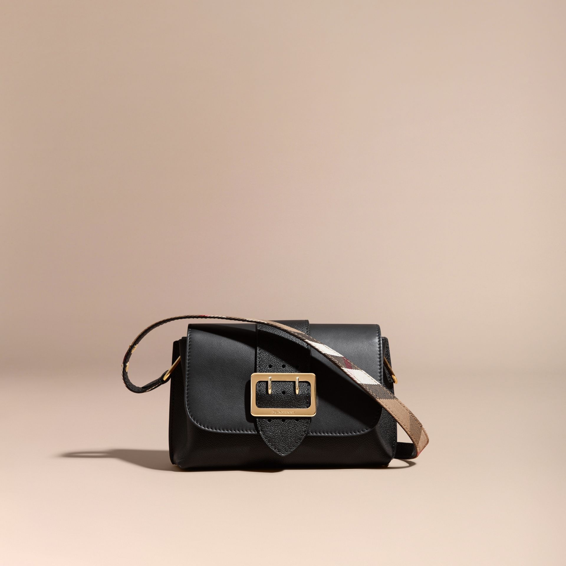 The Buckle Crossbody Bag in Leather Black - gallery image 7