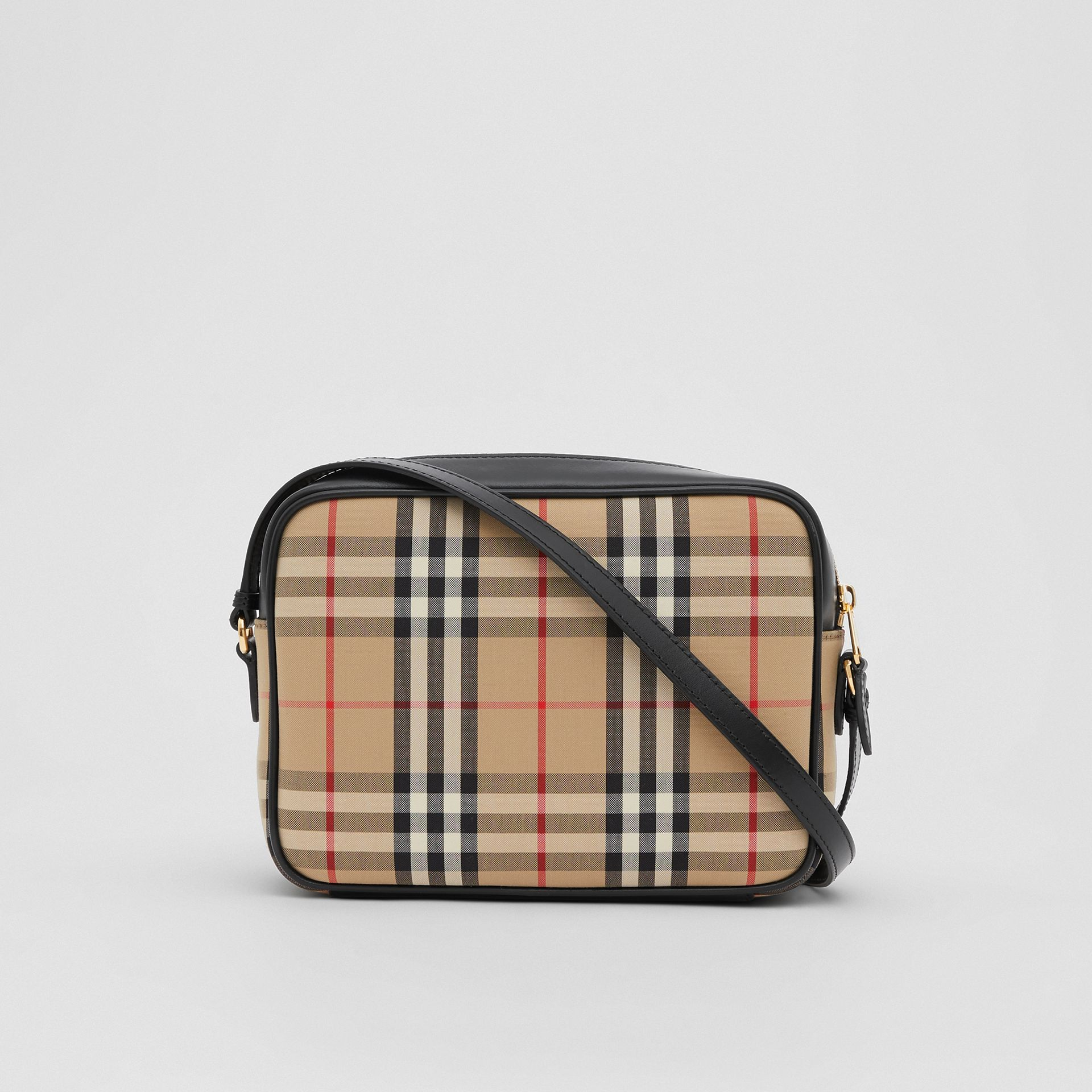 Medium Vintage Check and Leather Camera Bag in Archive Beige - Women | Burberry - gallery image 7