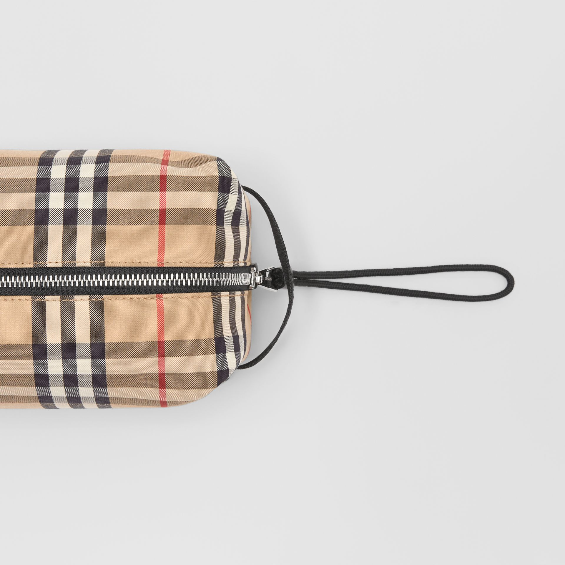 Vintage Check and Leather Pouch in Archive Beige | Burberry Hong Kong S.A.R - gallery image 1
