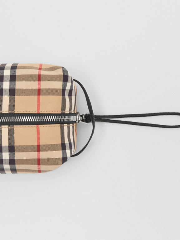 Vintage Check and Leather Pouch in Archive Beige | Burberry Hong Kong S.A.R - cell image 1