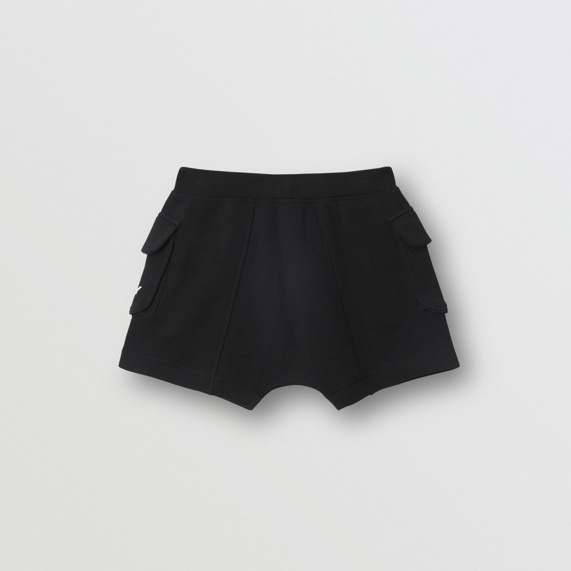 Logo Print Cotton Drawcord Shorts in Black | Burberry - gallery image 3